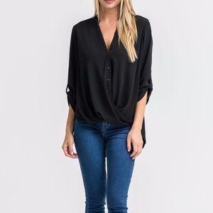 Lush Twist Front Woven Top Blouse Black Medium